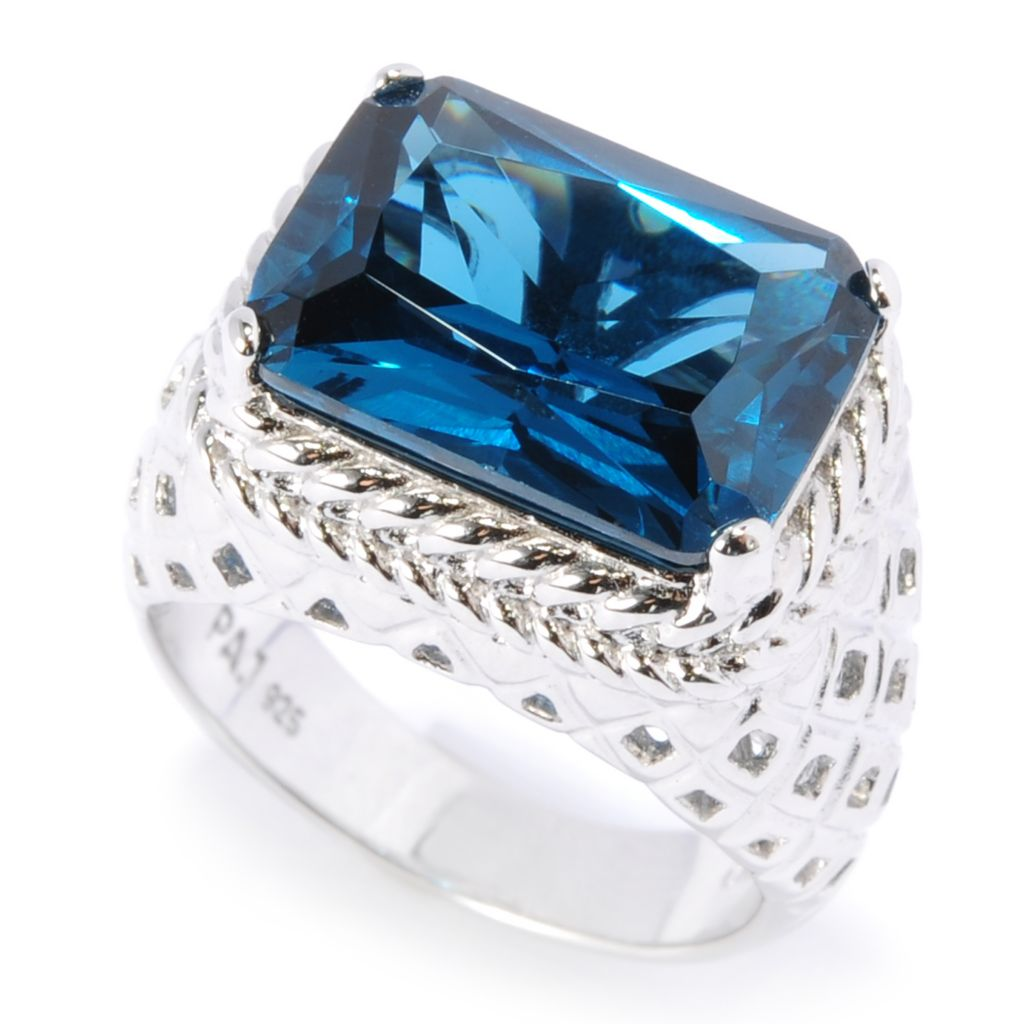 134-515 - Brilliante® Platinum Embraced™ Simulated London Blue Topaz Cut-out Ring