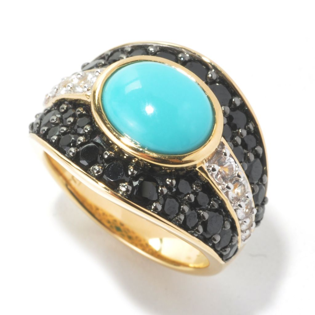 134-516 - Omar Torres Sleeping Beauty Turquoise, Black Spinel & White Sapphire Ring