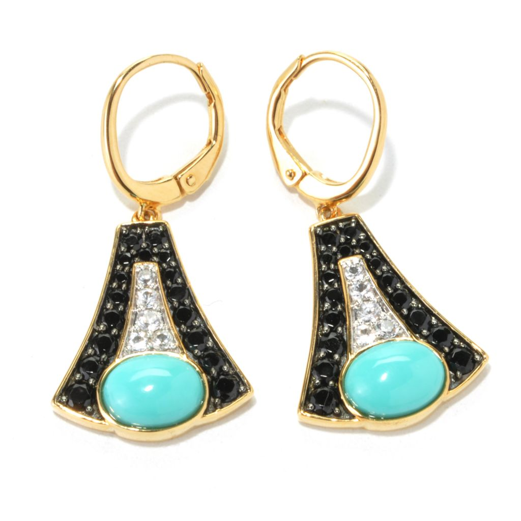 "134-517 - Omar Torres 1.25"" Sleeping Beauty Turquoise, Black Spinel & White Sapphire Earrings"