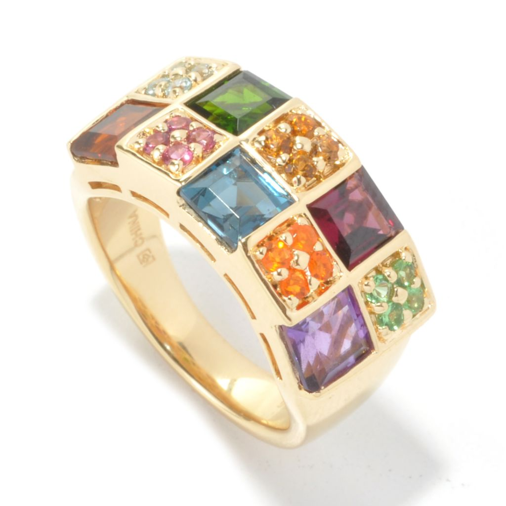 134-521 - Omar Torres 2.69ctw Square & Round Multi Gemstone Band Ring