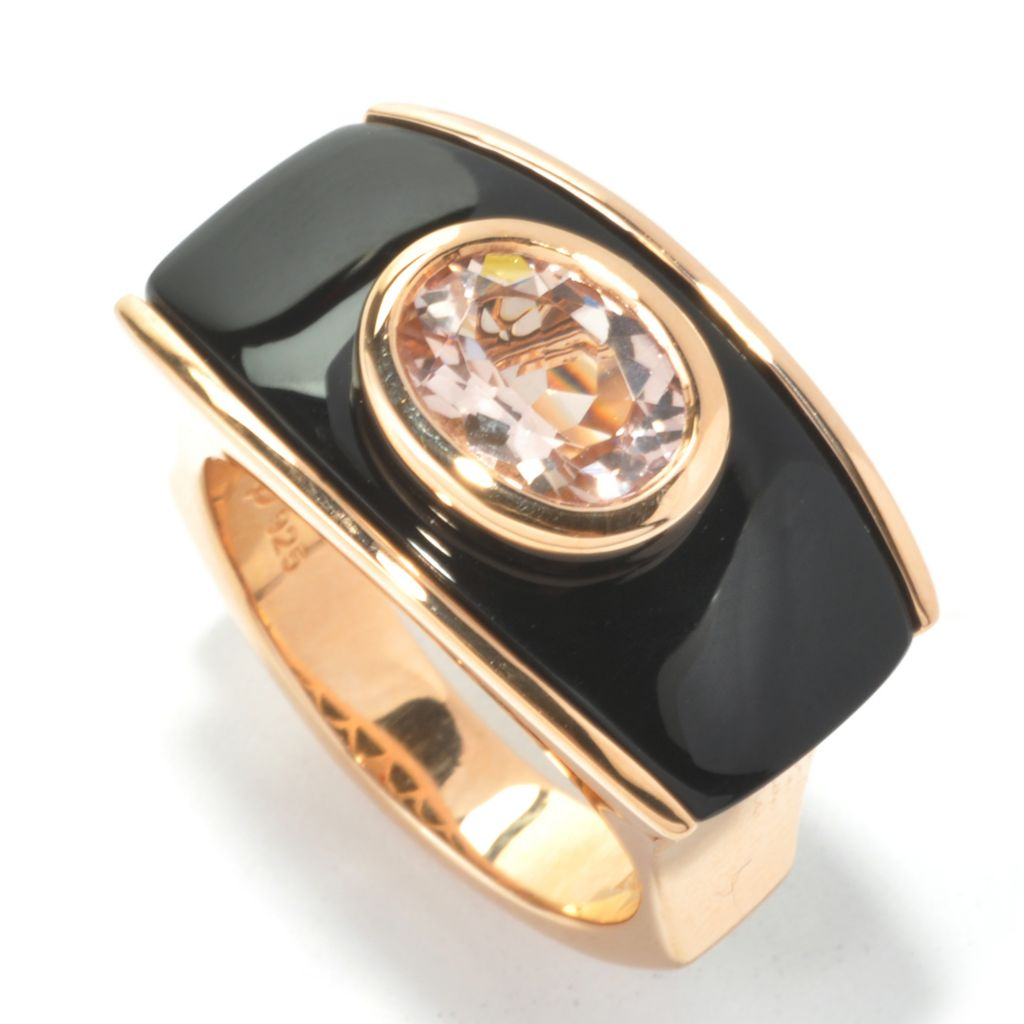 134-525 - Omar Torres Oval Gemstone & Onyx Polished Euro Top Ring