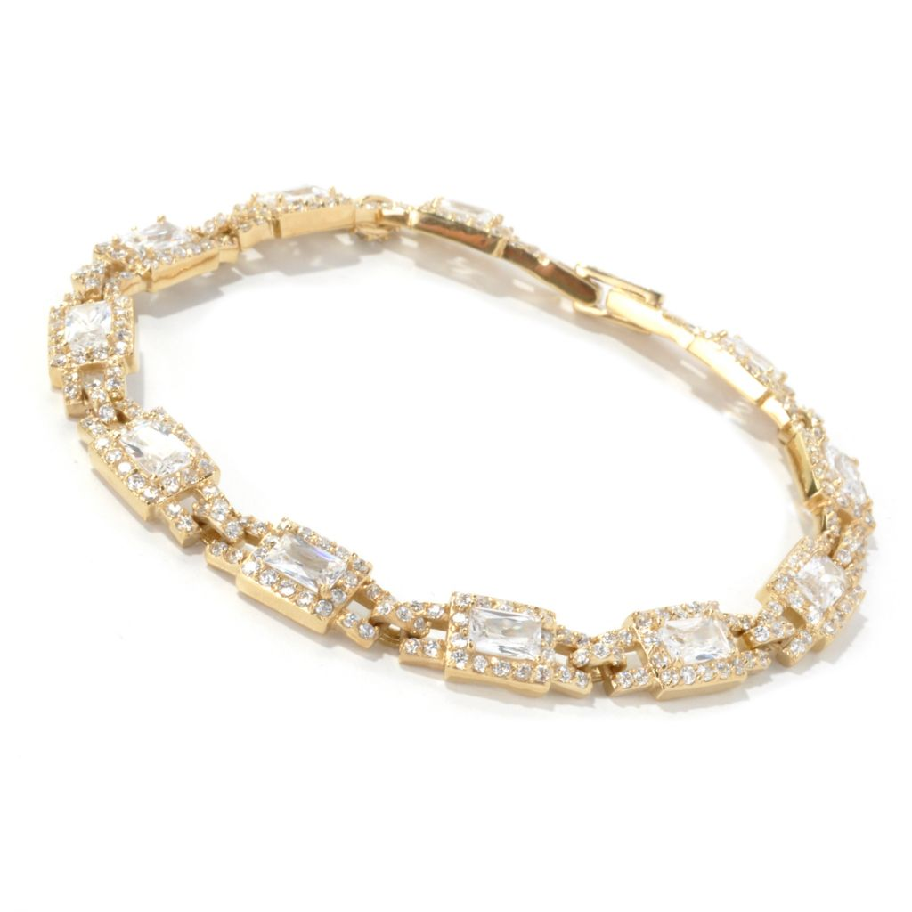 134-533 - Brilliante® Rectangle & Round Simulated Diamond Halo Link Line Bracelet