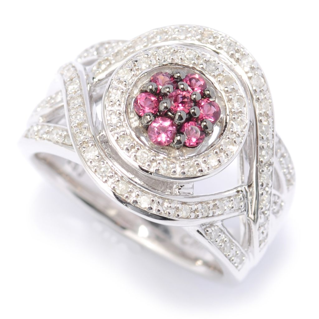 134-535 - Sterling Silver 0.51ctw Diamond & Pink Tourmaline Woven Halo Ring