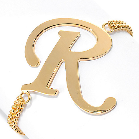 134-539 - Portofino 7'' Script Initial Double Rolo Link Bracelet w/ 2.5'' Extender