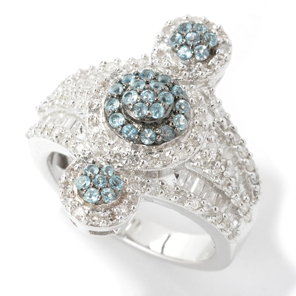 134-541 - Diamond Treasures Sterling Silver 1.18ctw Diamond & Swiss Blue Topaz Multi Level Ring