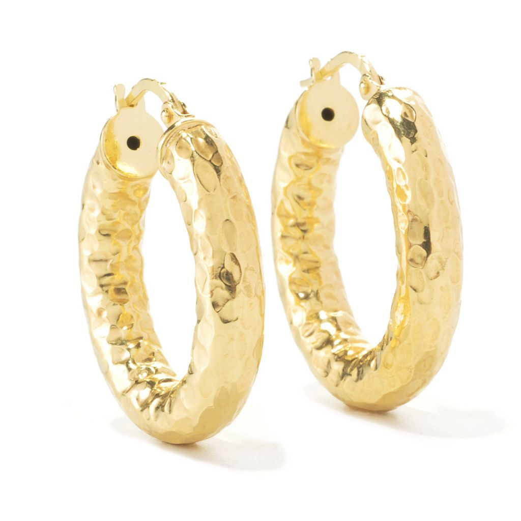 "134-545 - Toscana Italiana 18K Gold Embraced™ 1"" Hammered Hoop Earrings"