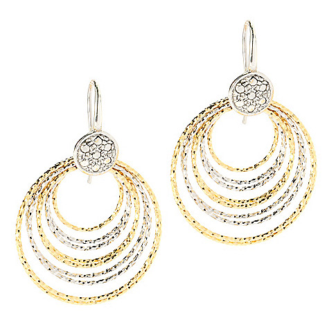 134-547 - Portofino 18K Gold Embraced™ 1'' Diamond Cut Cascading Hoop Earrings
