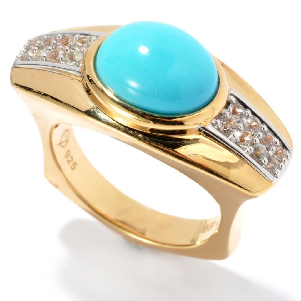 134-549 - Omar Torres 11 x 9mm Sleeping Beauty Turquoise & White Sapphire Euro Top Ring