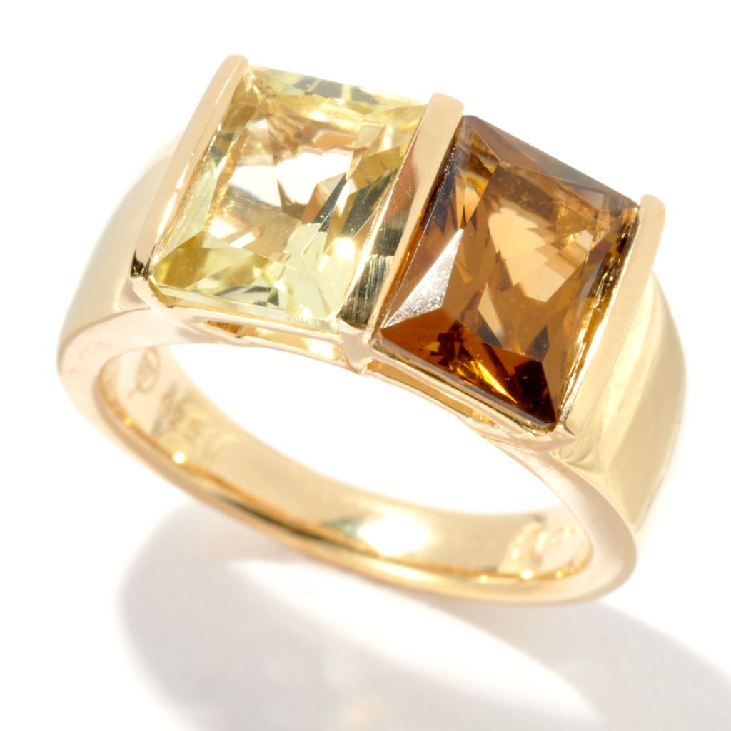 134-550 - Omar Torres 3.20ctw Baguette Ouro Verde & Honey Citrine Ring