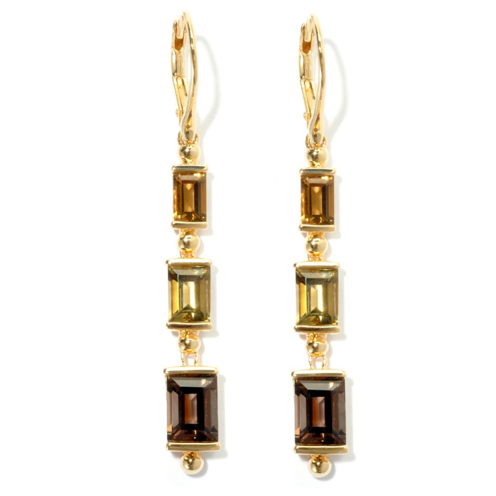 "134-551 - Omar Torres 2.25"" 4.32ctw Citrine & Multi Quartz Three-Stone Drop Earrings"