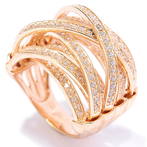 134-554 - Brilliante® 1.66 DEW Pave Set Simulated Diamond Multi Level Crossover Ring