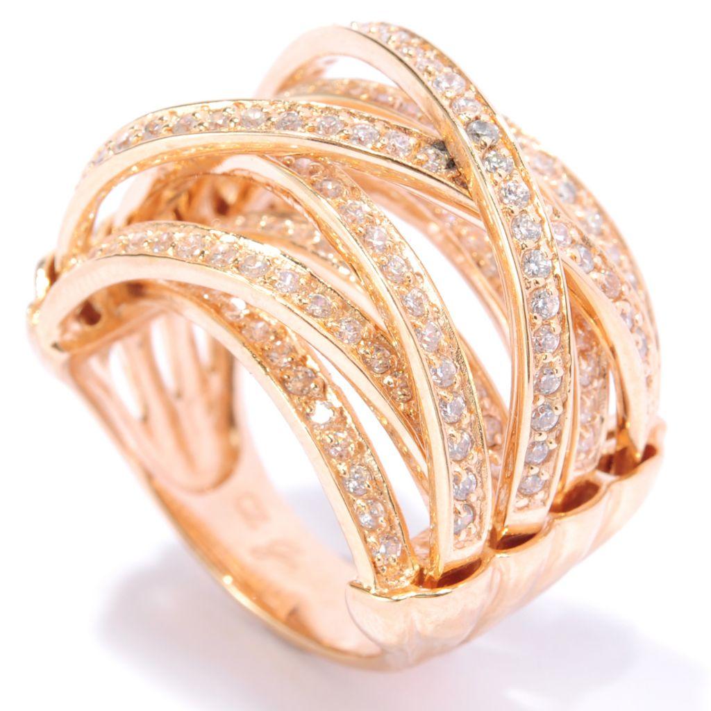 134-554 - Brilliante® 1.66 DEW Pave Set Simulated Diamond Multi Level Crossover Ring