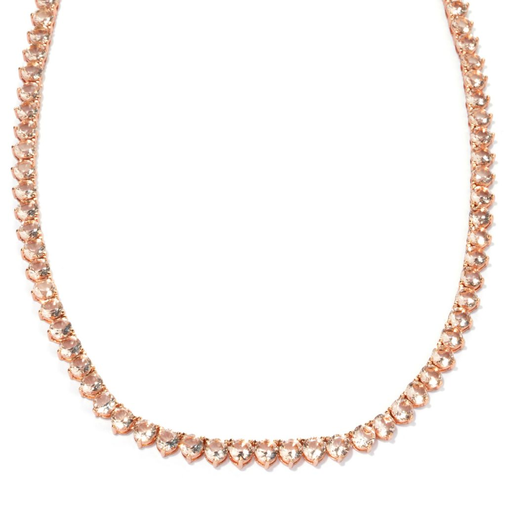 134-557 - Brilliante® 18K Rose Gold Embraced™ Simulated Morganite Tennis Necklace