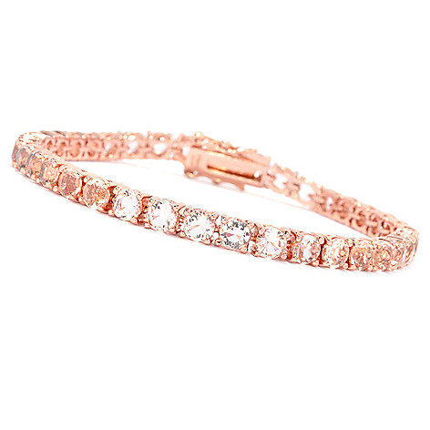 134-558 - Brilliante® 18K Rose Gold Embraced™ Simulated Morganite Tennis Bracelet