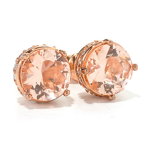 134-559 - Brilliante® 18K Rose Gold Embraced&trade Round Simulated Morganite Stud Earrings