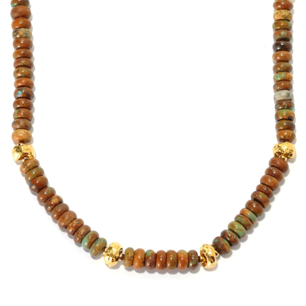 "134-561 - Toscana Italiana Gold Embraced™ 18"" Earth-Tone Turquoise & Bead Station Necklace"