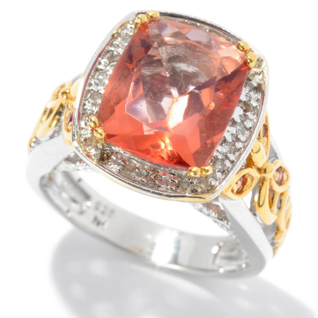134-562 - The Vault from Gems en Vogue II 3.97ctw Cushion Salmon Fluorite & Multi Gem Ring