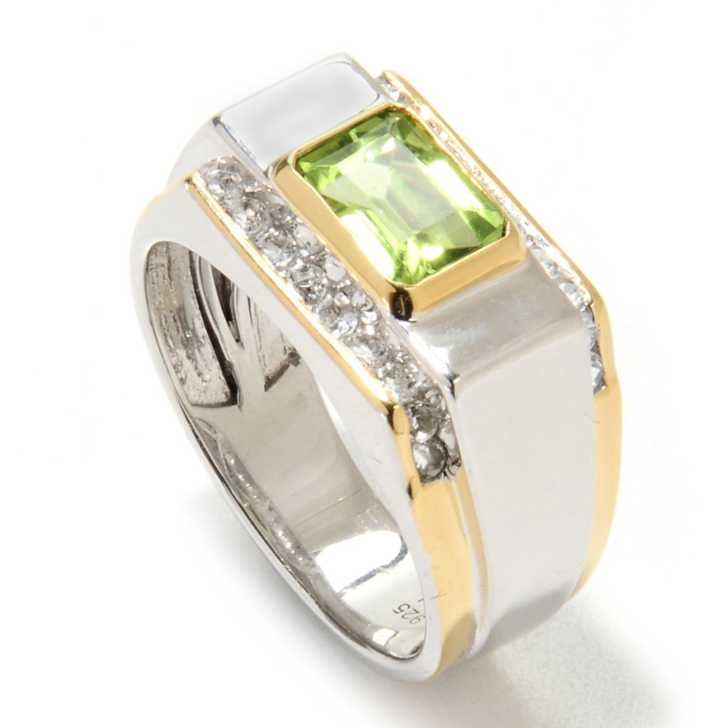 134-563 - Men's en Vogue Two-tone 2.20ctw Peridot & White Topaz Ring