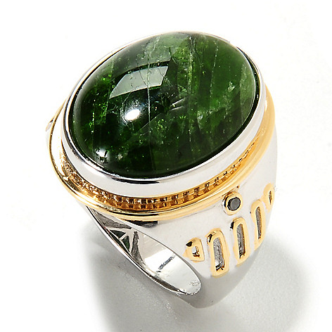 134-565 - Men's en Vogue II 20 x 15mm Oval Chrome Diopside & Black Diamond Ring
