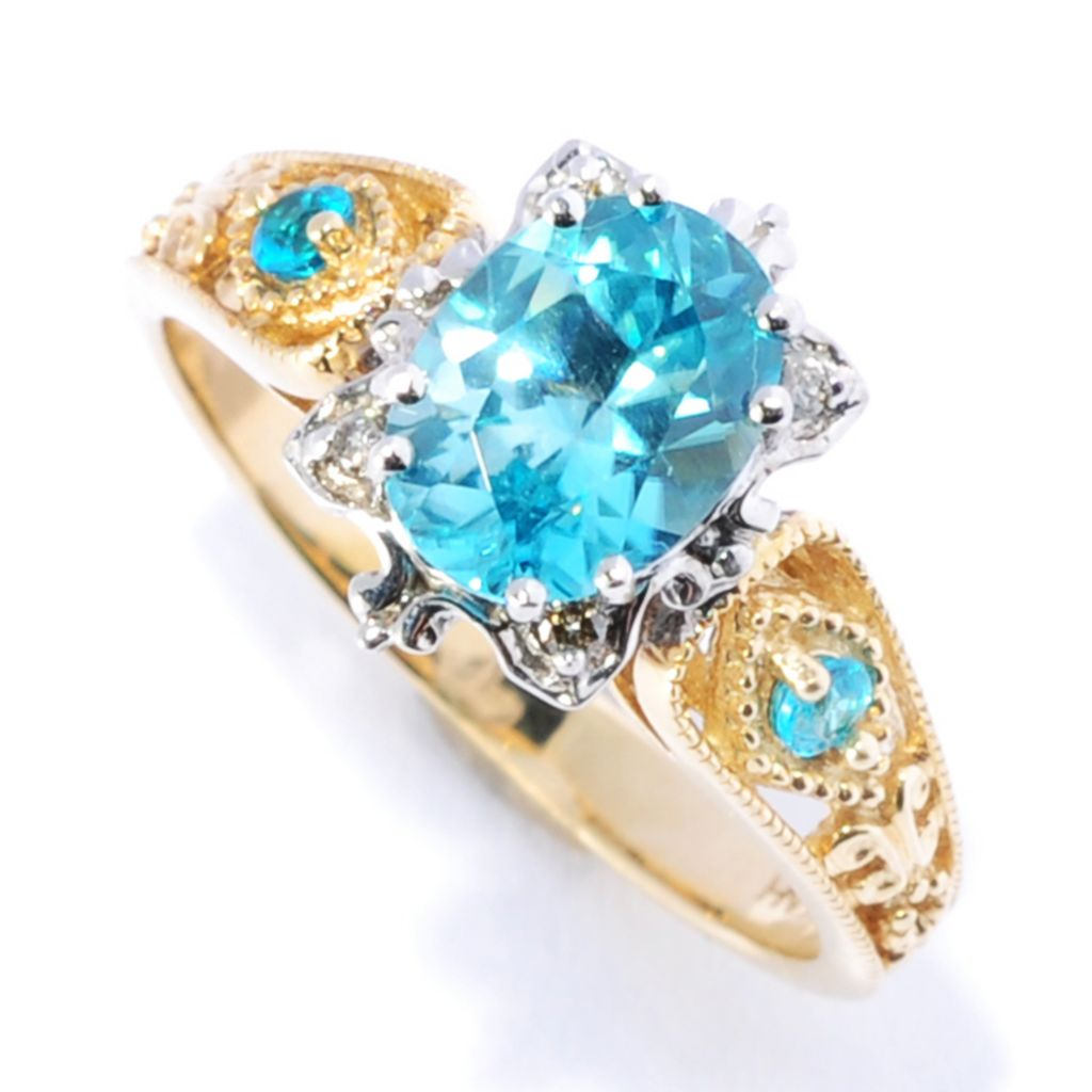 134-566 - The Vault from Gems en Vogue II 14K Gold 1.90ctw Blue Zircon & Neon Apatite Ring