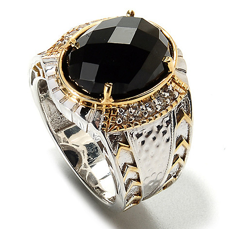 134-567 - Men's en Vogue 12.65ctw Oval Black Spinel & White Topaz Ring