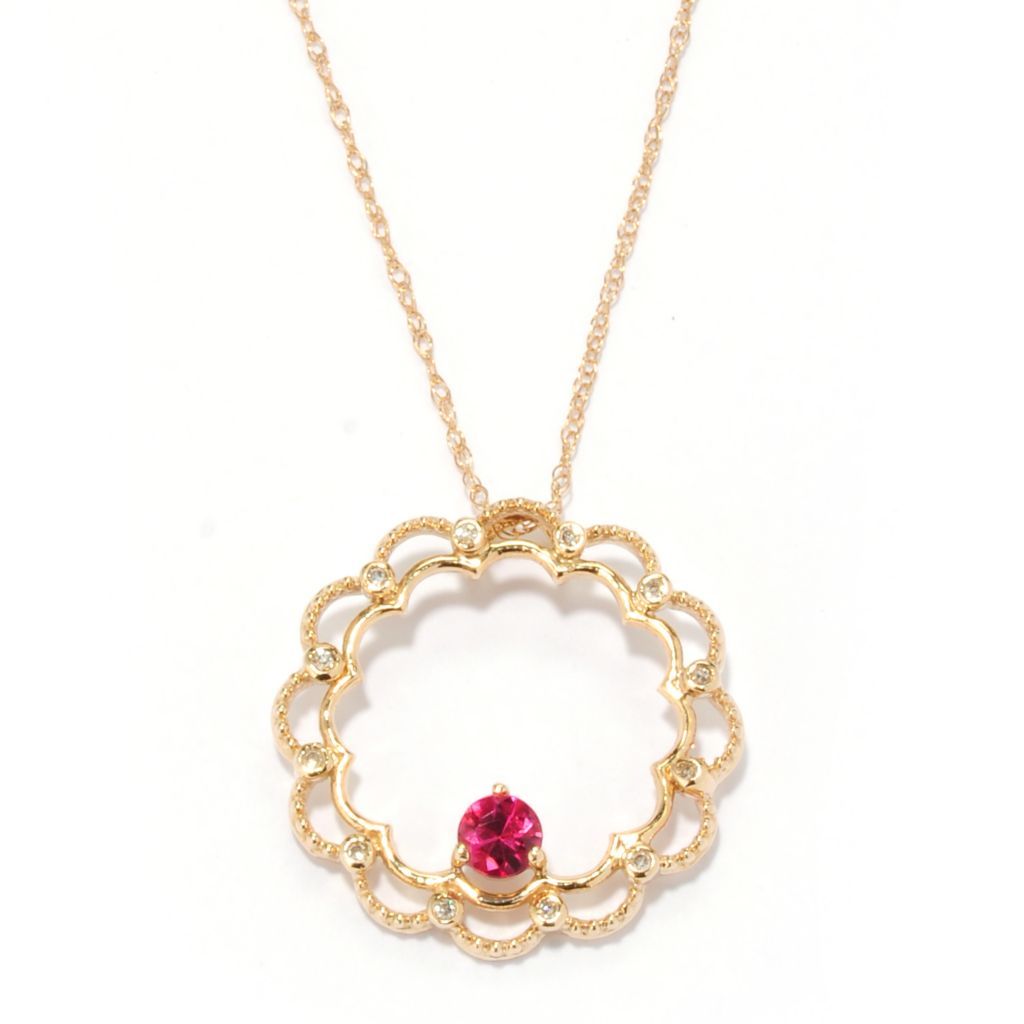 134-568 - The Vault from Gems en Vogue II 14K Gold Rubellite & Diamond Circle Pendant w/ Chain
