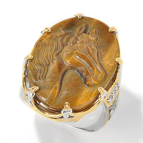 134-569 - Men's en Vogue II 28 x 20mm Carved Tiger's Eye Horse & White Topaz Ring