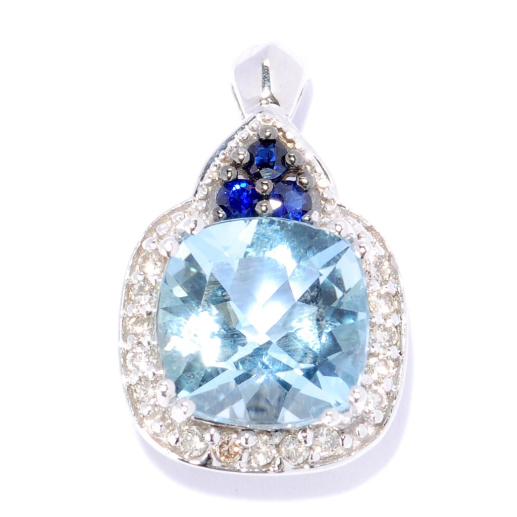 134-571 - The Vault from Gems en Vogue II 14K White Gold 1.95ctw Aquamarine & Sapphire Pendant