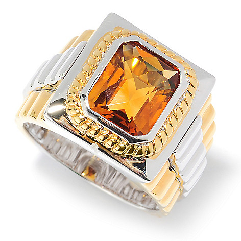 134-572 - Men's en Vogue 3.92ctw Emerald Cut Zambian Citrine Ribbed Ring