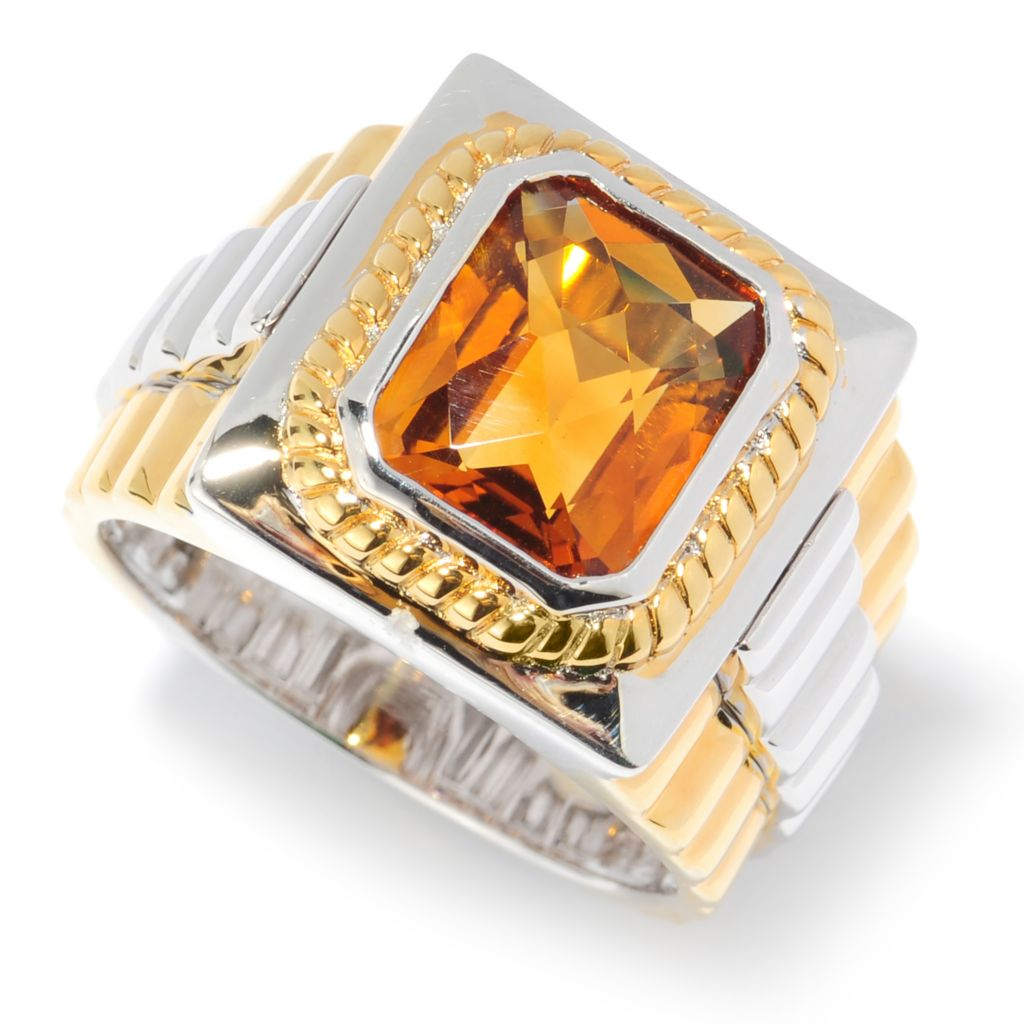 134-572 - Men's en Vogue II 3.92ctw Emerald Cut Zambian Citrine Ribbed Ring