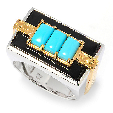 134-576 - Men's en Vogue Sleeping Beauty Turquoise & Onyx Three-Stone Hammered Ring