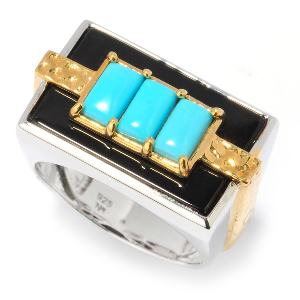 134-576 - Men's en Vogue II Sleeping Beauty Turquoise & Onyx Three-Stone Hammered Ring