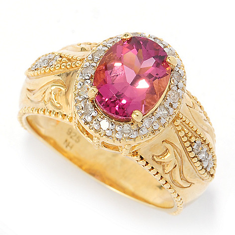 134-578 - The Vault from Gems en Vogue II 2.14ctw Oval Pink Tourmaline & Diamond Halo Ring