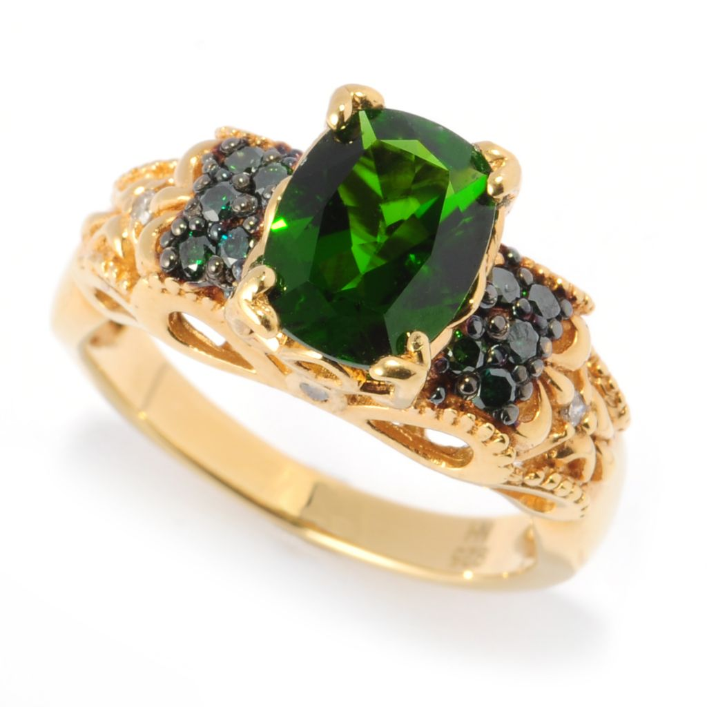134-579 - The Vault from Gems en Vogue II 2.04ctw Chrome Diopside & Green Diamond Ring