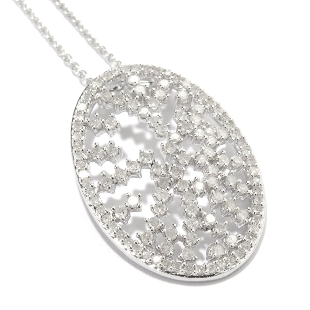 134-584 - Diamond Treasures Sterling Silver 1.01ctw Diamond Oval Sprinkle Pendant w/ Chain