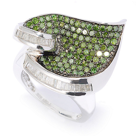 134-589 - Diamond Treasures Sterling Silver 1.57ctw Green & White Diamond Leaf Ring