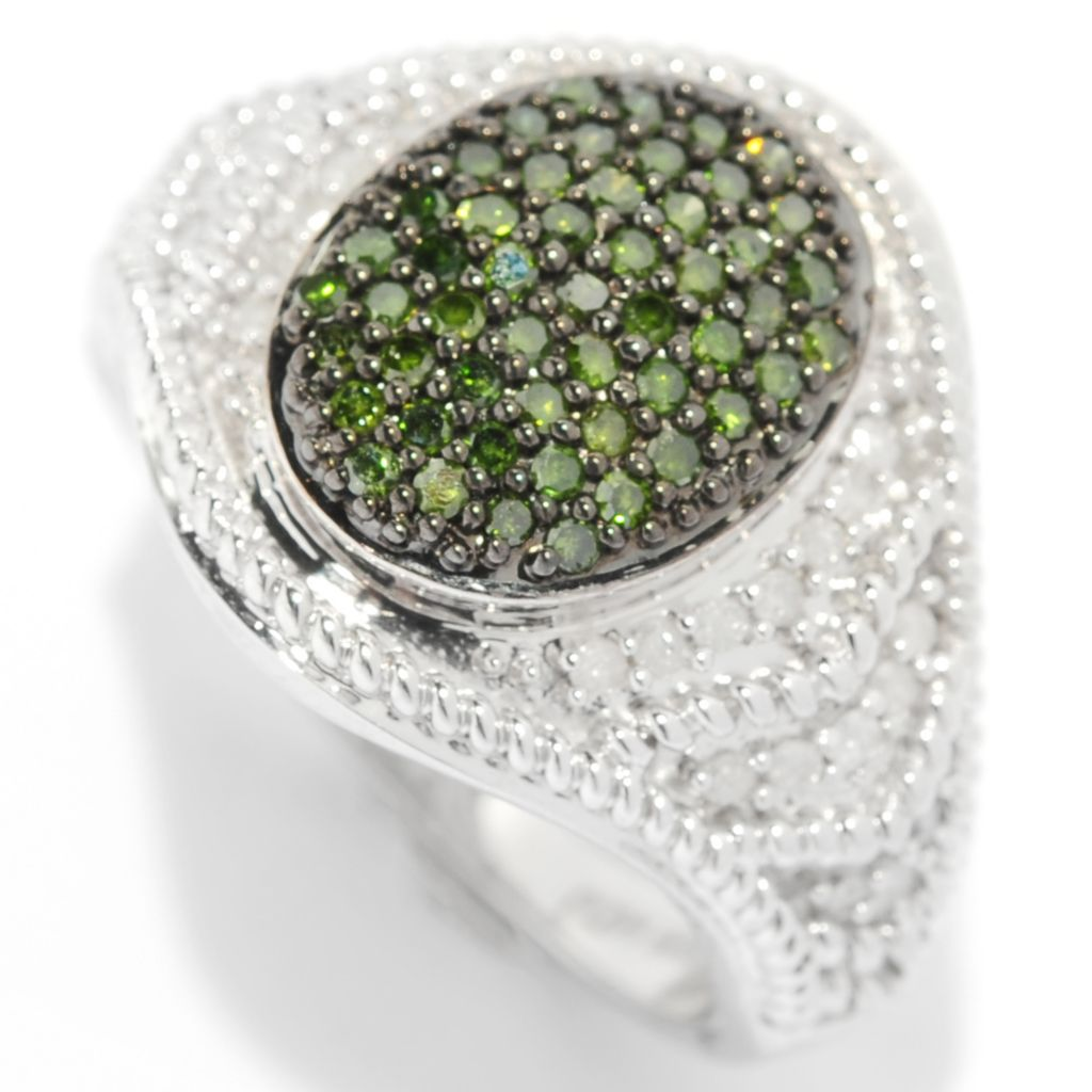 134-590 - Diamond Treasures Sterling Silver 0.51ctw Pave Green & White Diamond Ring