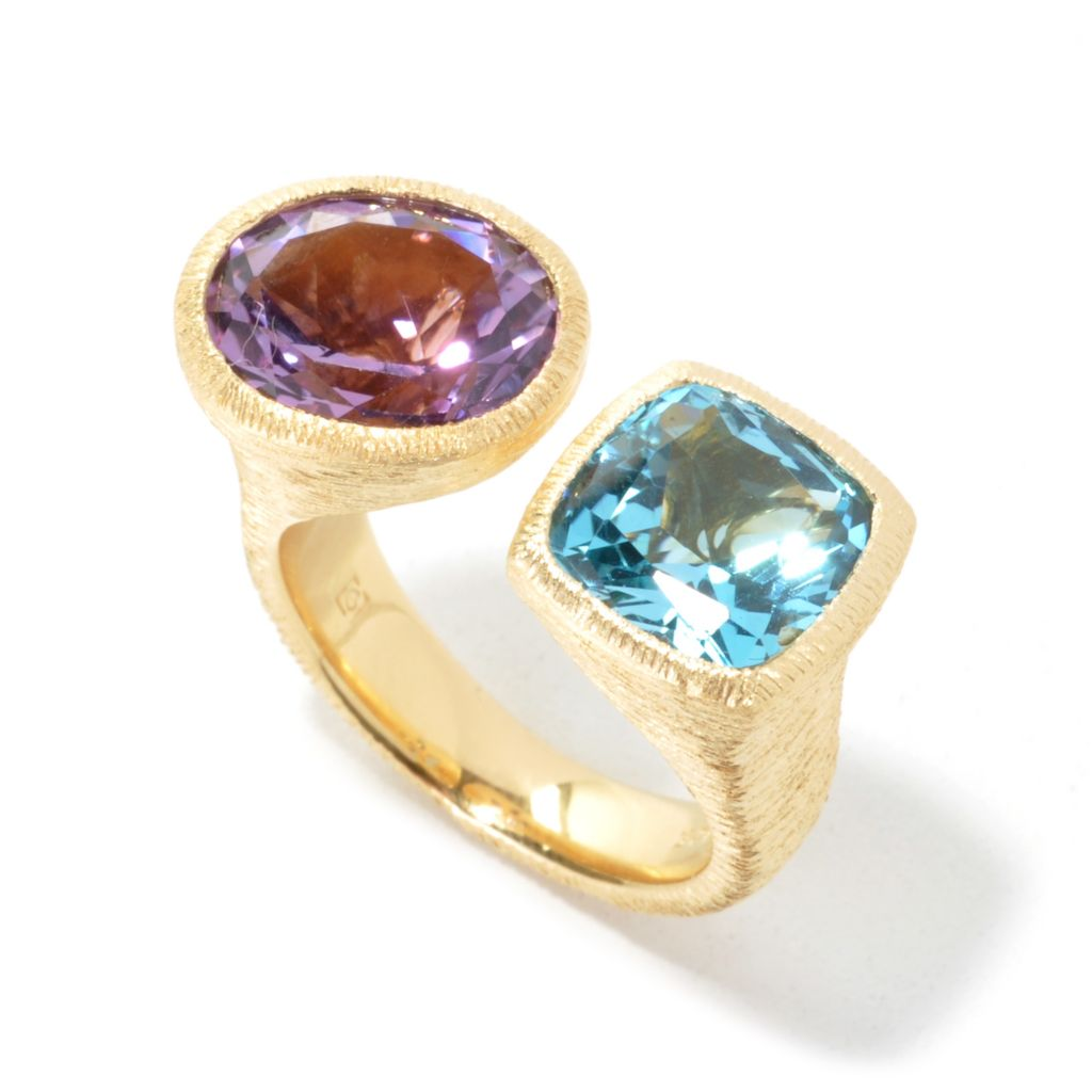 134-602 - Michelle Albala 6.11ctw Amethyst & Swiss Blue Topaz Brushed Ring