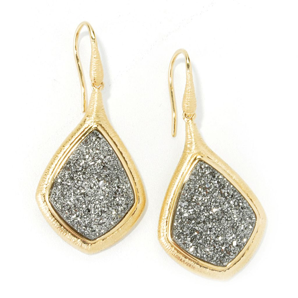 "134-604 - Michelle Albala 19.5 x 15mm Diamond Shaped Drusy 1.75"" Drop Earrings"