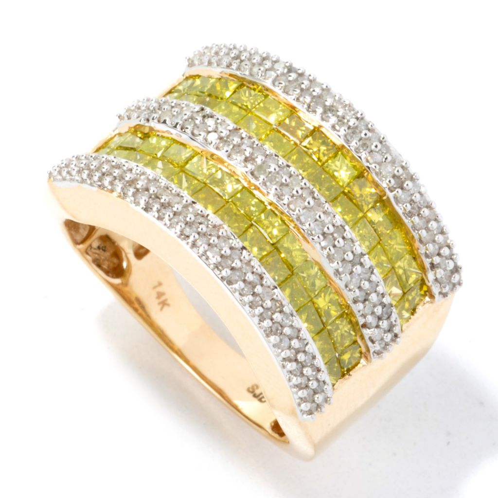 134-606 - Diamond Treasures 14K Gold 2.05ctw Invisible & Pave Set Diamond Wide Band Ring