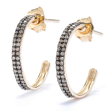 134-625 - Diamond Treasures 14K Gold 0.30ctw Champagne Diamond Petite Hoop Earrings