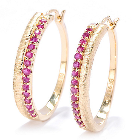 134-626 - Michelle Albala 1'' Gemstone Brushed Two-Row Hoop Earrings