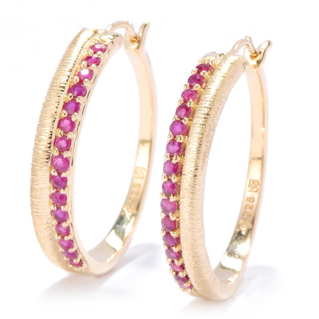 "134-626 - Michelle Albala 1"" Gemstone Brushed Two-Row Hoop Earrings"
