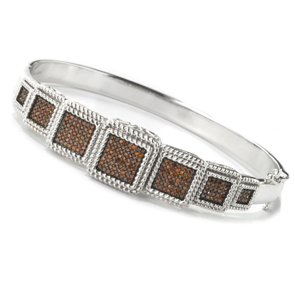 134-627 - Diamond Treasures Sterling Silver 0.75ctw Fancy Color Diamond Multi Level Bangle Bracelet