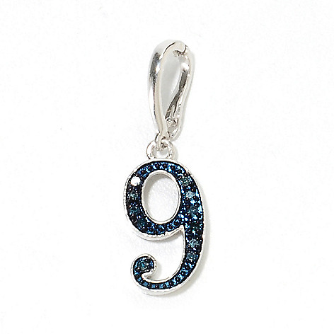 134-631 - Diamond Treasures Sterling Silver 0.06ctw Diamond Number Charm Enhancer