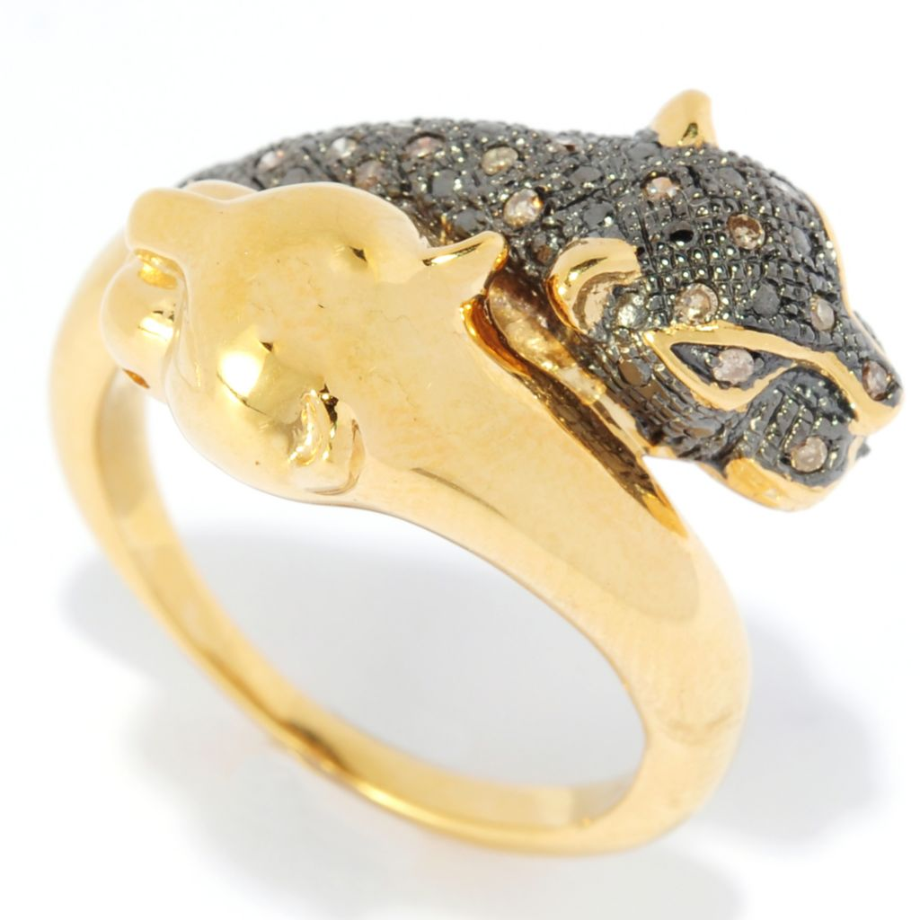 134-635 - Diamond Treasures 14K Gold Embraced™ 0.11ctw Champagne Diamond Panther Bypass Ring