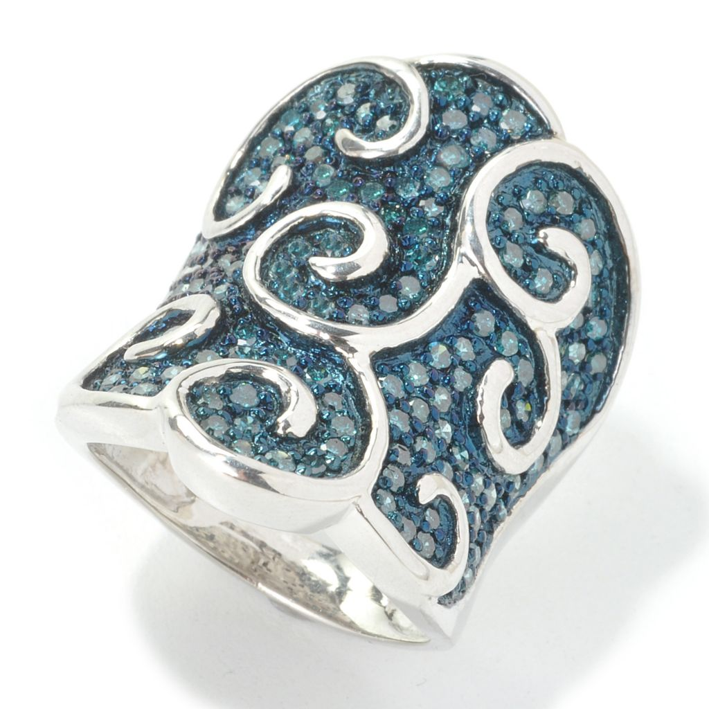 134-641 - Diamond Treasures Sterling Silver 1.50ctw Fancy Color Diamond Swirl Overlay Ring