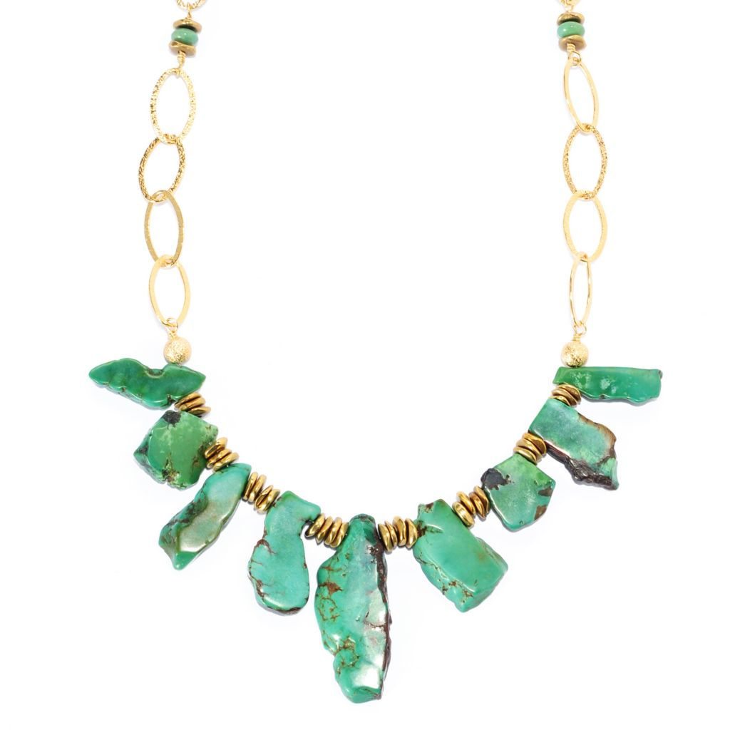 "134-650 - Elements by Sarkash Copper 18"" Freeform Green Turquoise Bib Necklace"
