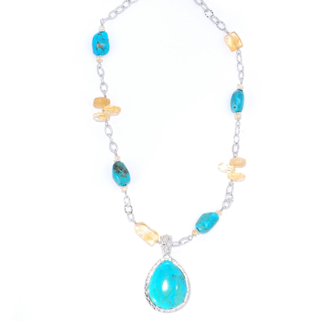 "134-651 - Elements by Sarkash 30 x 26mm Teardrop Turquoise Enhancer w/ 18"" Turquoise & Citrine Link Chain"