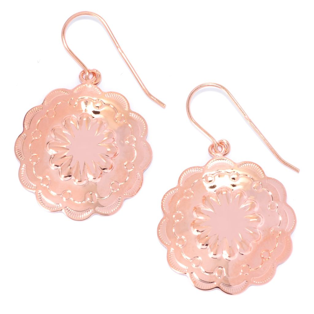 "134-655 - Elements by Sarkash Copper 1.5"" Textured Flower Scalloped Edge Drop Earrings"